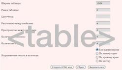 Генератор кода html таблица