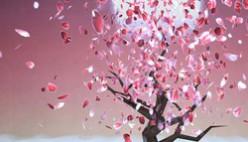 Красивое дерево онлайн с улетающими лепестками