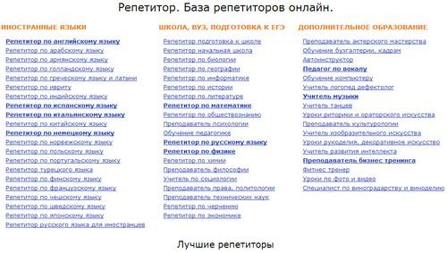База репетиторов онлайн