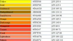 Таблица веб цветов