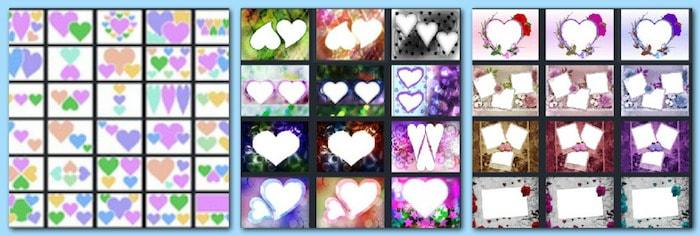 набор инструментов которого включает целых три категории с разнообразными шаблонами, чтобы сделать коллаж из фото в виде сердца